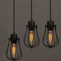 Edison Iron Vintage Ceiling Light Fitting Lamp Bulb Cage Bar Retro Lampshade