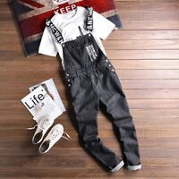 Men Retro Denim Casual Overall Jeans Jumpsuit Suspenders Pants Trouser Plus Size
