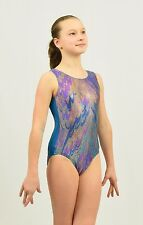 Gymnastics Tank Leotard  size MED child or XSMALL adult foil spandex multicolor