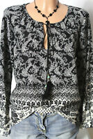Bluse Gr. S/M schwarz-weiß Paisley Blumen Muster Langarm Bluse/Tunika