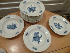 """ROYAL COPENHAGEN """"BLUE FLOWER"""" SOUP BOWLS  set of 12     #   8106  lattice"""