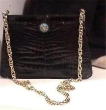 Vintage Guy Laroche Black Alligator Handbag 1980's Gold Rope Chain