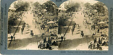 c1903 SV Jaipur, India Street Scene, Camels, Horses, People Stereoview