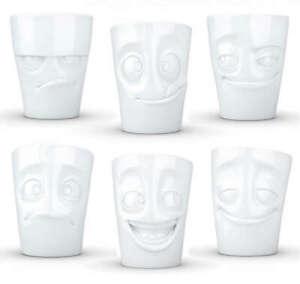 FIFTYEIGHT Lustige Gesichter Tassen NEU/OVP Becher mit Henkel aus Porzellan 58
