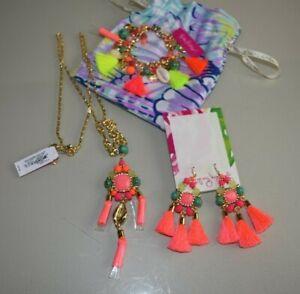 NEW Lilly Pulitzer 3 PCS Boho Beach Earring Bracelet Sunset Necklace Tassel