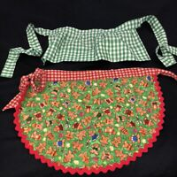 Vintage Childrens Christmas Half Aprons Lot of 2 Gingerbread Rick Rack Gingham