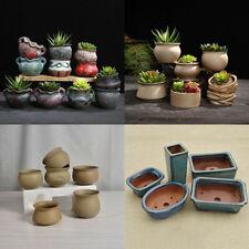 1Pc Small Ceramic Bonsai Flower Pot Glazed Plant Flowerpots Home Garden Decor