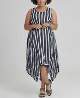 TS Taking Shape Striped Navy Blue 100% Cotton little Havana Dress Size L or 22