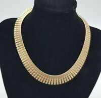 Vintage Gold Tone Brutalist Cleopatra Style Necklace