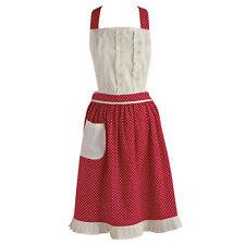 VINTAGE APRON ** Red & White Polka Dot Kitchen Apron - NEW!!  100% Cotton  NWT