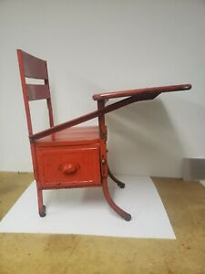 Childrens Vintage Metal And Wood School Desk With Drawer