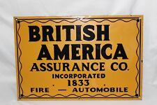 "Vtg BRITISH AMERICA ASSURANCE CO FIRE AUTOMOBILE Insurance Porcelain Sign 18"""