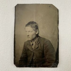 Antique Bon-Ton Tintype Photograph Handsome Young Man Gay Int Ruffian Outlaw