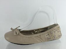 Me Too Womens Studded Taupe Leather Flats 6.5 M