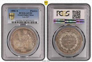 1886-A French Indo China Piastre PCGS AU53