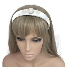Large Diamante Jewelled Headband Hair Band in Padded Ivory Satin Bridal Pearl