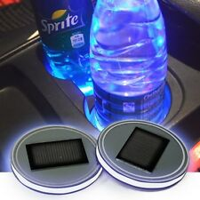 2x Solar Energy Cup Holder Bottom Pad LED Light Cover Trim For All car All model