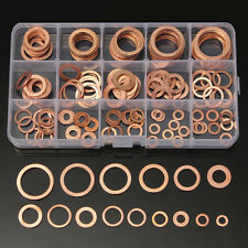 150Pcs 15 Sizes Assorted Solid Copper Crush Washers Seal Flat Ring Set With Case