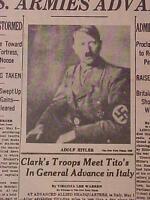 VINTAGE NEWSPAPER HEADLINE ~WORLD WAR 2 GERMANY NAZI DEATH HITLER DEAD WWII 1945
