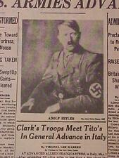 VINTAGE NEWSPAPER HEADLINE ~WORLD WAR 2 GERMANY NAZI ARMY DEATH HITLER DEAD WWII