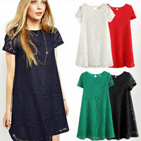 Summer Women's Lady Short Sleeve Cocktail Evening Party Casual Lace Dress Plus