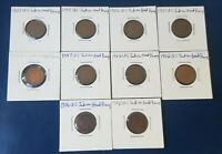 U.S. Indian Head Pennies Lot of 10. Circulated coins with full / partial dates