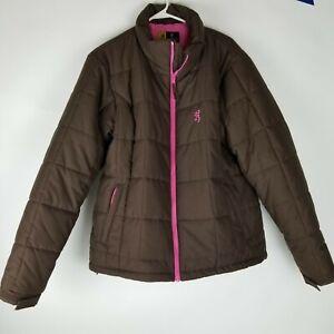 Browning For Her Coat XL Brown Pink Deer Logo, Browning Hat Cap Pink Deer Logo
