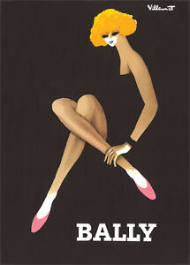 ART DECO BALLY PRINT DESIGN by BERNARD VILLEMONT - FINE ART REPRINTED EDITION