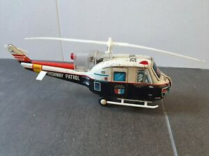 Rare Vintage Highway Patrol Police Helicopter 1960 - Tin/Battery -  T.N NOMURA