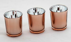 100 Copper Glass Tealight Votive Candle Holder Wedding Event Party BULK BUY