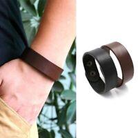 Man Punk Wide Genuine Leather Belt Wristband Bangle Cuff Bracelet Adjustable