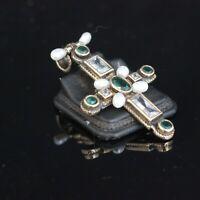 925 Sterling Silver Handmade Authentic Turkish  Emerald Cross Pendant