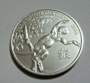 2016 1oz 999 Silver Year of the Monkey QEII Two Pounds