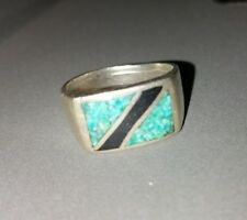 Zuni 925 Ring Sterling Silver Turquoise Onyx Size 10 7.7g