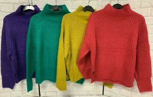 Ladies High Neck Jumper by George Purple Pink Green Ocre BNWOT