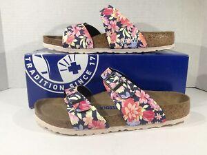 BIRKENSTOCK Women Sydney Blue Flowers Birko Flor Sandal Shoe Sz 9 EU40 ZB6-1537