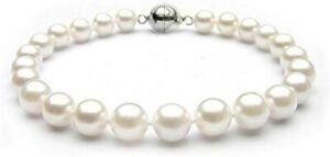 Stunning 8-9mm White Freshwater Pearl Bracelet 19cm For Women