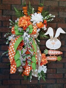 XL Handmade Spring Easter Bunny Floral Grapevine Wreath Orange White Hydrangea