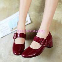 Ladies Women Patent Leather Mid Block Heel Shoes Plus Size Mary Jane Casual Size