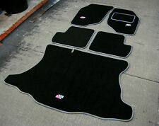 Car Mats in Black with Grey Trim to fit Rover 25/MG ZR + Flags Logos + Boot Mat