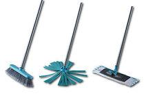 3in1 Putz-Set Wischmop, Mikrofaser-Tuch, Besen Reinigungs-Set Metall Stiel 110cm