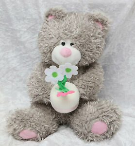 With love grey teddy bear with flowers 11 inches tall collectable