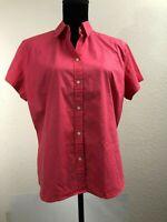 Eddie Bauer XL Short Sleeve Top Shirt Linen Cotton Blend Button Up Women's