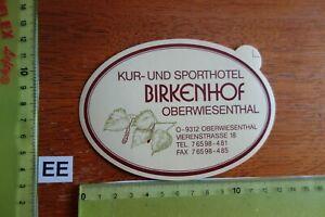 Alter Aufkleber Hotel Kur- und Sporthotel BIRKENHOF Stadt Oberwiesenthal