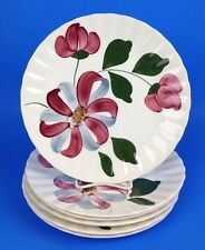 EUC Set 6 Luncheon Plates WHIRLIGIG Blue Ridge Southern Pottery Red Blue Floral