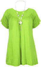 Womens Plus Size Frill Necklace Gypsy Ladies Tunic Short Sleeve Long V Neck Tops Light Green UK Size 16