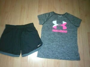 NIKE & UNDER ARMOUR 2 PIECE GIRLS ATHLETIC OUTFIT SIZE MEDIUM & YOUTH LARGE