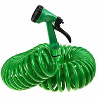 50FT 15 Metre Retractable Coil Hose Pipe Garden Reel With Water Spray Gun Nozzle