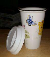 Lenox American By Design BlueButterfly Meadow Ceramic Travel Tumbler MugCup 20oz