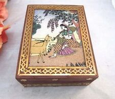 Vtg Sand painting, wood & brass trinket box made in India. Hindu Goddess